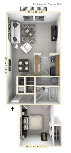 Floor Plan  The Starboard - 1 BR 1 BA Floor Plan at WaterFront Apartments, Virginia Beach, 23453