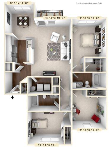 Floor Plan  The Gamble - 3 BR 2 BA Floor Plan at Avellan Springs Apartments, Morrisville, NC