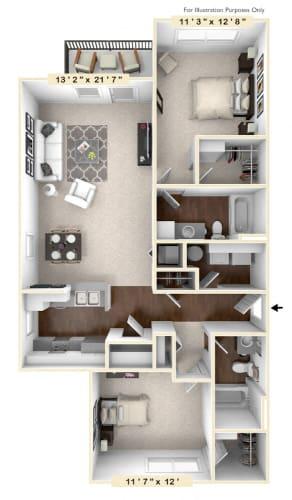 Floor Plan  The Morgan - 2 BR 2 BA Floor Plan at Avellan Springs Apartments, Morrisville, NC, 27560