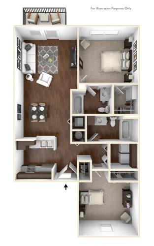 Floor Plan  The Peak - 2 Bedroom 2 BA Floor Plan at The Retreat Apartments, Roanoke, VA, 24019
