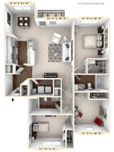 Floor Plan  The Vista - 3 BR 2 BA Floor Plan at The Retreat Apartments, Roanoke, Virginia
