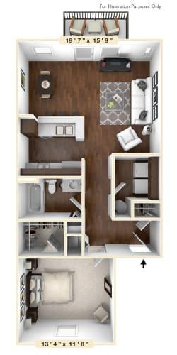 Floor Plan  The Ashland - 1 BR 1 BA Floor Plan at River Crossing Apartments, St. Charles