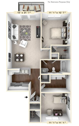 Floor Plan  The Benton - 2 BR 1 BA Floor Plan at River Crossing Apartments, Missouri