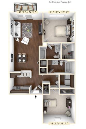 Floor Plan  The Lancaster - 2 BR 2 BA Floor Plan at River Crossing Apartments, Missouri, 63303