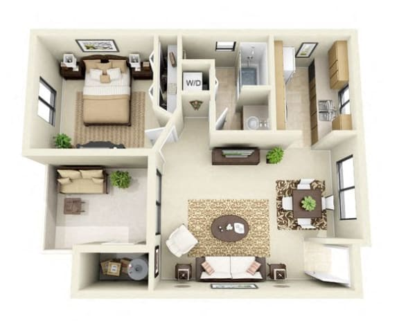 Floor Plan  The Mesquite | 1 Bedroom 1 Bathroom Floor Plan