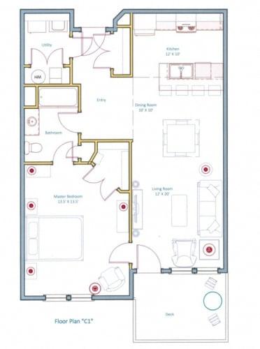 Floor Plan  1 Bedroom Floorplan Layout for Ashland Woods