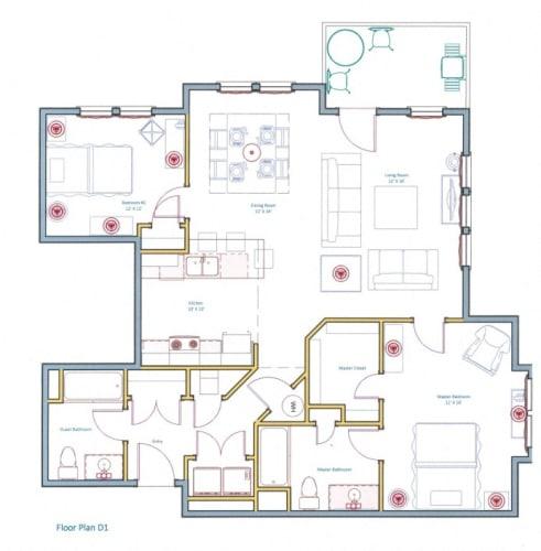 Floor Plan  Large 2 Bedroom Apartment Layout Ashland Woods