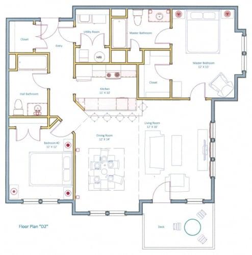 Floor Plan  Largest Two Bed Floorplan Ashland Woods