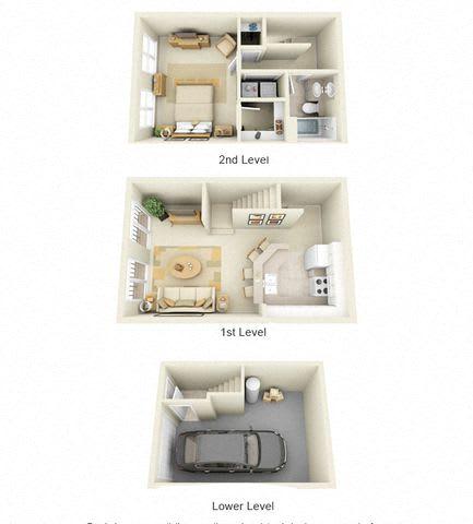 Floor Plan  Harlequin One Bedroom One Bath Floor Plan 3D Image