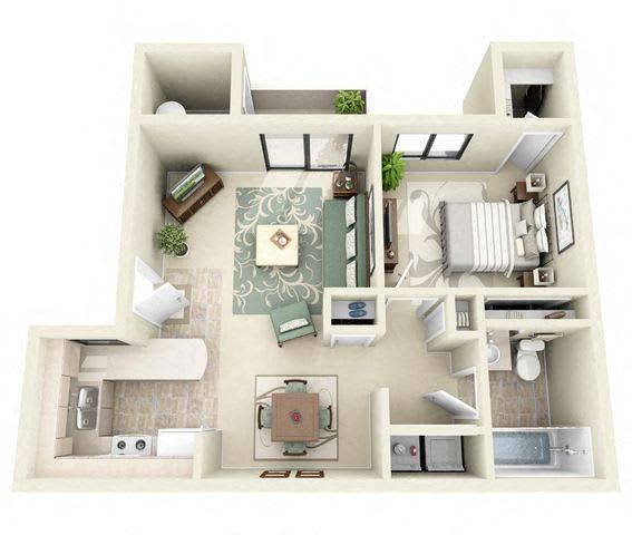 Floor Plan  Windsor | 1 Bedroom 1 Bathroom Floor Plan