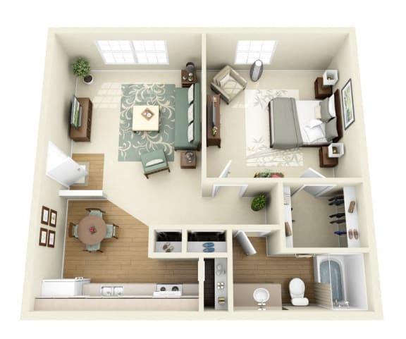 Floor Plan  Sequoia 1 bedroom 1 bathroom floorplan