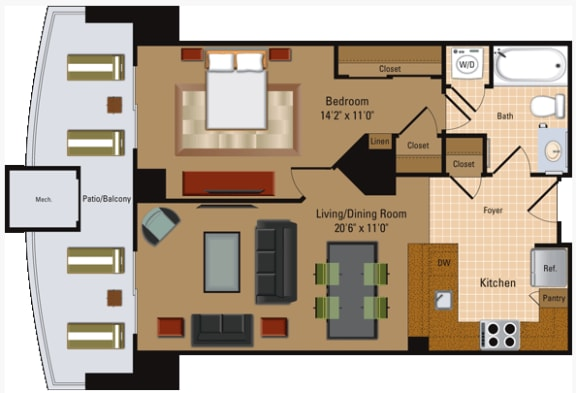 Floor Plan  1 Bedroom, 1 Bath - A1
