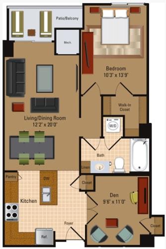 Floor Plan  1 Bedroom, 1 Bath + Den - A4D