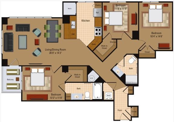 Floor Plan  3 Bedroom, 2 Bath - C1