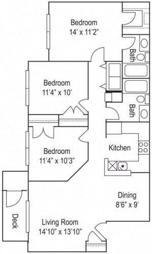 Floor Plan  Riverwoods Apartments The Powell Floor Plan 3 Bedroom, 2 Bathroom