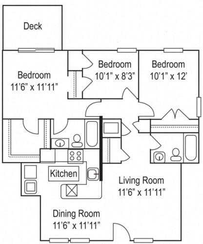 Floor Plan  Riverwoods Apartments The River Holly Floor Plan 3 Bedroom, 2 Bathroom