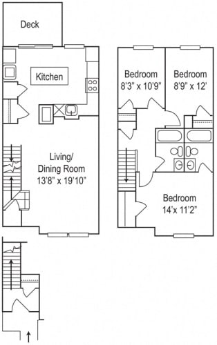 Floor Plan  Riverwoods at Towne Square The River Willow- 3 Bedroom, 2 Bathroom Townhome