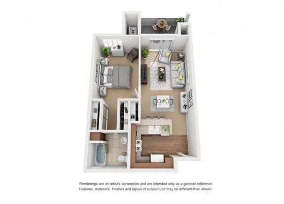Floor Plan  1 bed 1 bath Plan 1 floorplan at Sumida Gardens Apartments, Santa Barbara, CA