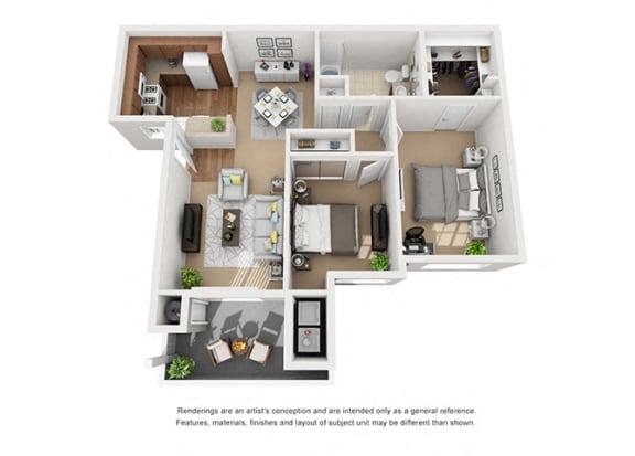 Floor Plan  2 bed 1 bath Plan 2 floorplan at Sumida Gardens Apartments, Santa Barbara California