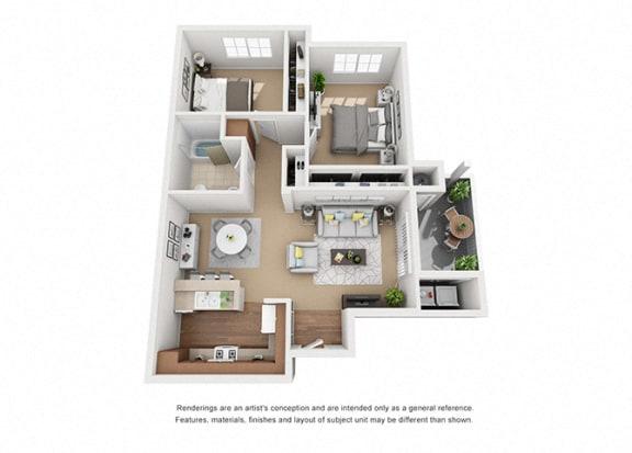 Floor Plan  2 bed 2 bath Plan 3 floorplan at Sumida Gardens Apartments, California, 93111
