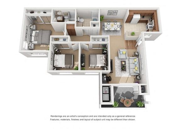 Floor Plan  3 bed 2 bath Plan 5 floorplan at Sumida Gardens Apartments, California
