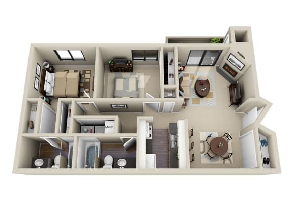 Floor Plan  Two Bed Two Bath Floor Plan at The Parc at Briargate, Colorado Springs