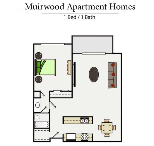 Floor Plan  One bedroom floor plan l Muirwood Garden Apartments Martinez CA