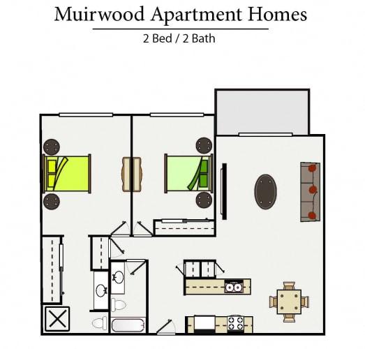 Floor Plan  two bedroom floor plan l Muirwood Garden Apartments Martinez CA