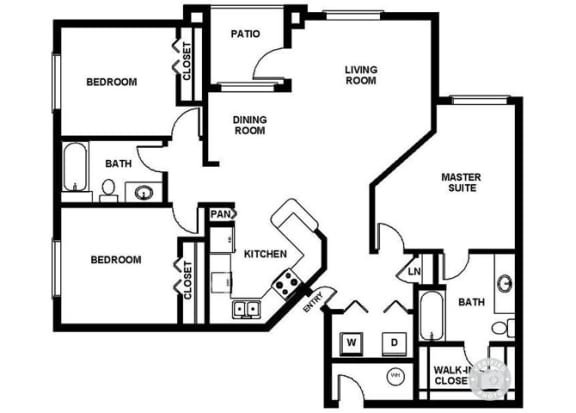 Floor Plan  Three Bedroom Two Bathroom