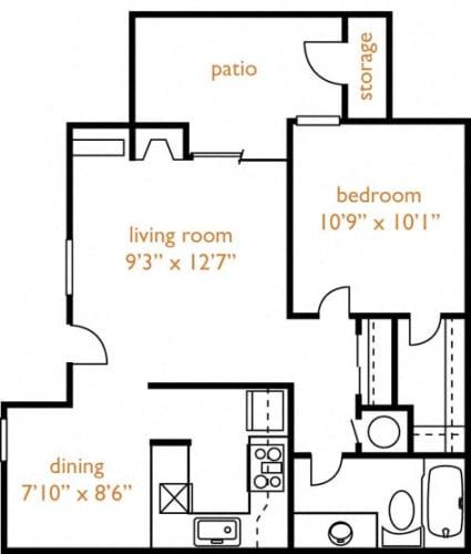 Floor Plan  Fair Oaks, CA Hazel Ranch Apartments 1 bedroom 1 bath