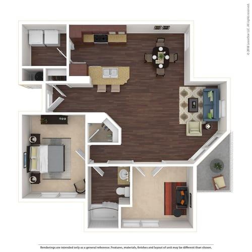 Floor Plan  Large 1 Bed, 1 Bath Floor Plan at Harvest Park Apartments, Santa Rosa, 95404