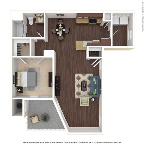 Floor Plan  1 Bed, 1 Bath Floor Plan at Harvest Park Apartments, Santa Rosa, CA