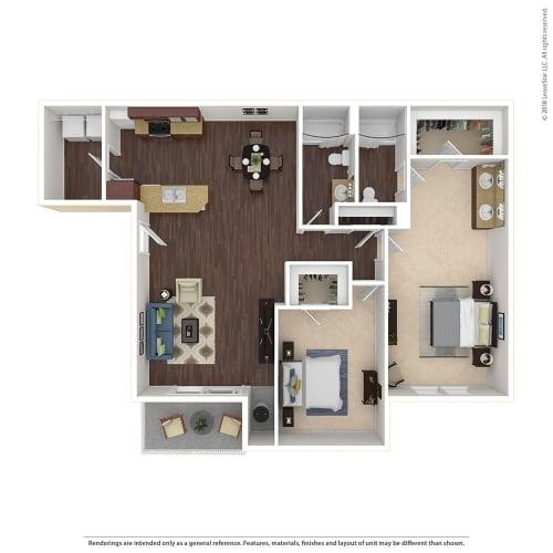 Floor Plan  Large 2 Bed, 2 Bath Floor Plan at Harvest Park Apartments, Santa Rosa