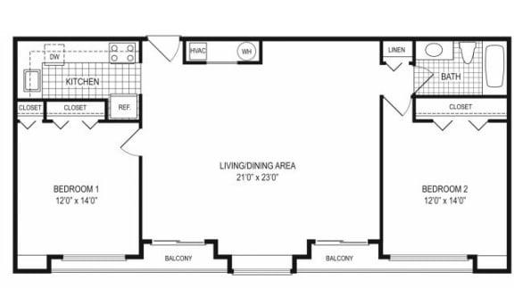 Floor Plan  2 Bed 1 Bath