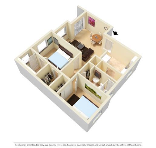 Floor Plan  2 Bedroom 2 Bath Furnished 3D Floorplan_Allapattah Gardens Miami, FL