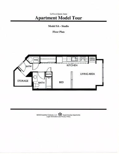 Floor Plan  LaVie at Queen Anne Seattle, WA studio Floor Plan