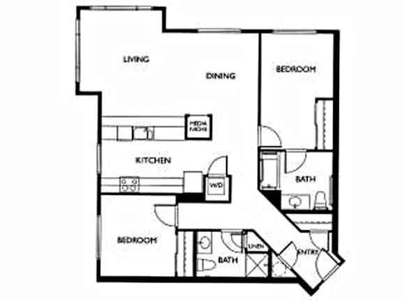 Floor Plan  LaVie at Queen Anne Seattle, WA 2 bedroom 2 bath