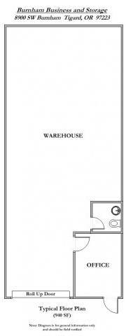 Floor Plan  Burnham Business and Storage Standard Floor Plan 940 Square Feet
