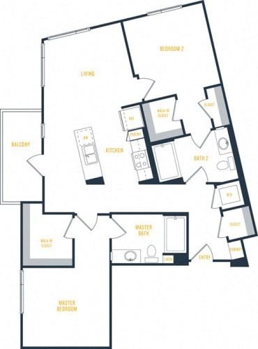 Floor Plan  Plan 10 - 2 Bedroom 2 Bath Floor Plan Layout - 1092 Square Feet
