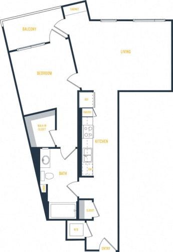 Floor Plan  Plan 7 - 1 Bedroom 1 Bath Floor Plan Layout - 819 Square Feet