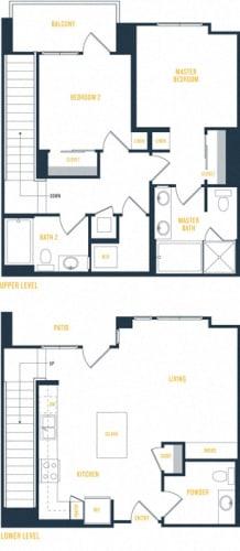 Floor Plan  Plan 19 Townhome - 2 Bedroom 2.5 Bath Floor Plan Layout - 1265 Square Feet