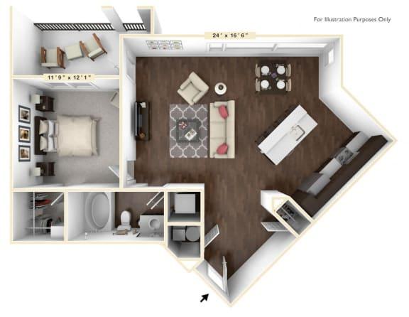 Floor Plan  A4 - 1 Bed - 1 Bath Floor Plan at Avant Apartments, Carmel