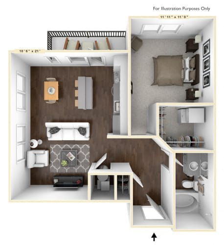 Floor Plan  A5 - 1 Bed - 1 Bath Floor Plan at Avant Apartments, Indiana