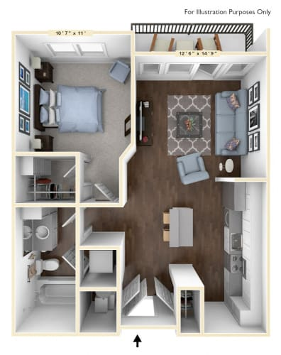 Floor Plan  A6 - 1 Bed - 1 Bath Floor Plan at Avant Apartments, Indiana, 46032