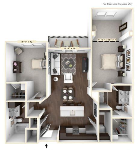 Floor Plan  B1 - 2 Bed - 2 Bath With Den Floor Plan at Avant Apartments, Carmel, IN, 46032