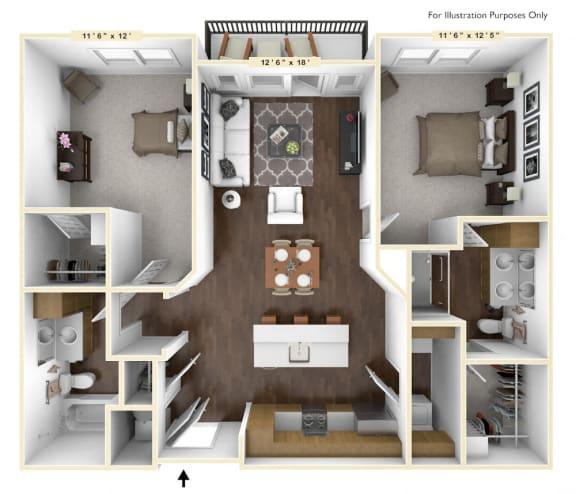 Floor Plan  B1 - 2 Bed - 2 Bath Floor Plan at Avant Apartments, Indiana