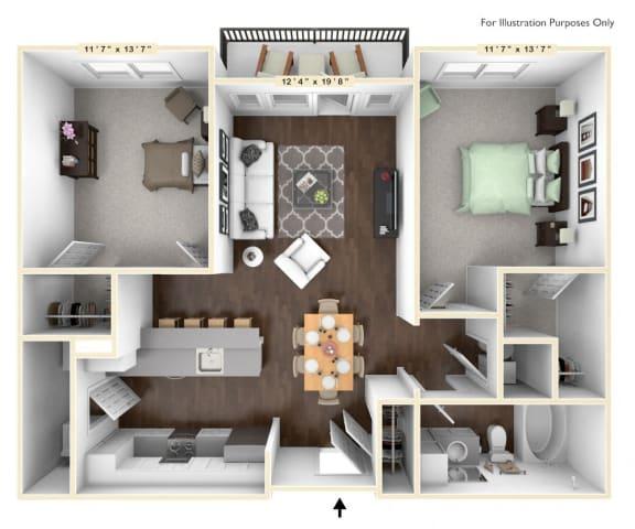 Floor Plan  B2 - 2 Bed - 1 Bath Floor Plan at Avant Apartments, Carmel, IN