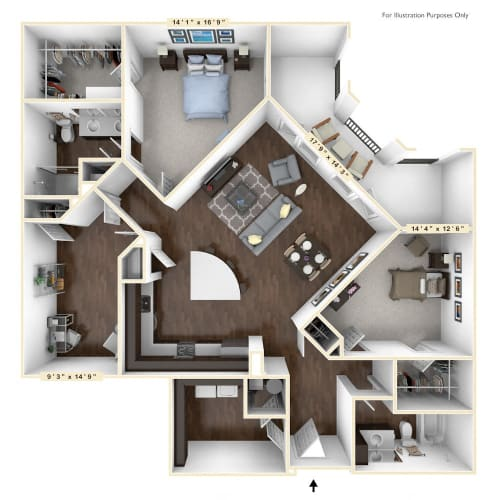 Floor Plan  B4 - 2 Bed - 2 Bath With Den Floor Plan at Avant Apartments, Carmel, Indiana