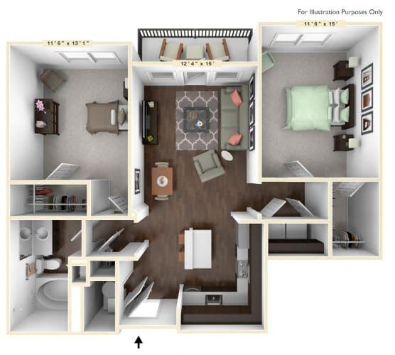 Floor Plan  B5 - 2 Bed - 1 Bath Floor Plan at Avant Apartments, Carmel