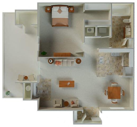 Floor Plan  Lexington 1x1 724 sqft Floor Plan